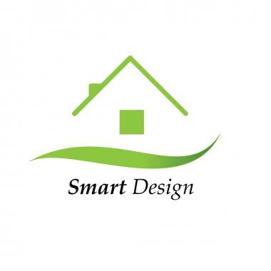 Vector illustration of a green house logo stock vector