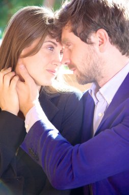 Woman happy in love looking boyfriend depp in eyes stock vector