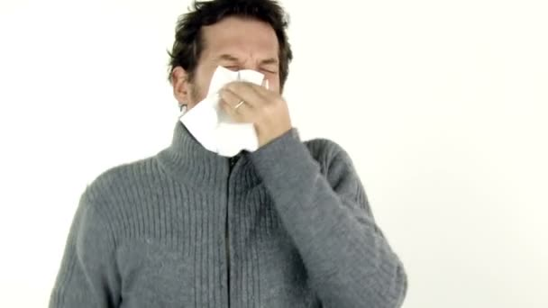 Sick man sneezing and coughing