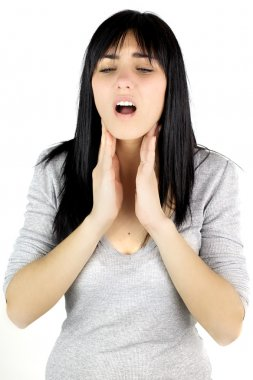 Woman having lost voice touching throat