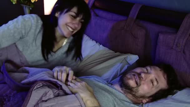 Couple In Love At Night Bed Making Peace After Fight Falling Asleep Stock Video