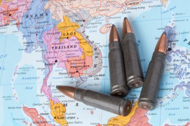 Bullets on the map of Thailand, Laos and Vietnam
