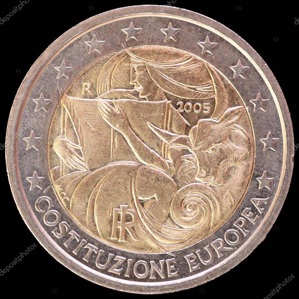 76b8fc7936 Moneta commemorativa 2 euro emesso dall'Italia nel 2005 per celebrare la Costituzione  europea– immagine stock