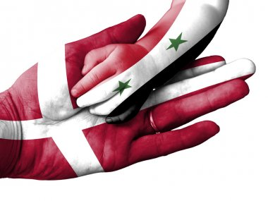 Adult man holding a baby hand with Denmark and Syria flags overlaid. Isolated on white