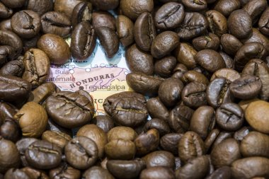 Map of Honduras under a background of coffee beans