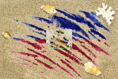 Flag of Haiti under a beach background
