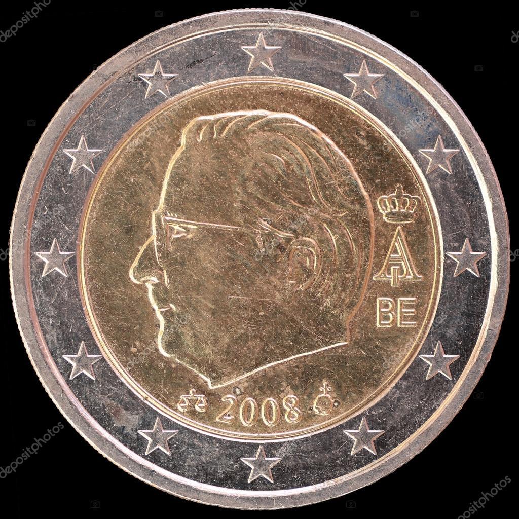 Nationale Seite Der Belgien Auf Zwei Euro Münze Auf Schwarzem