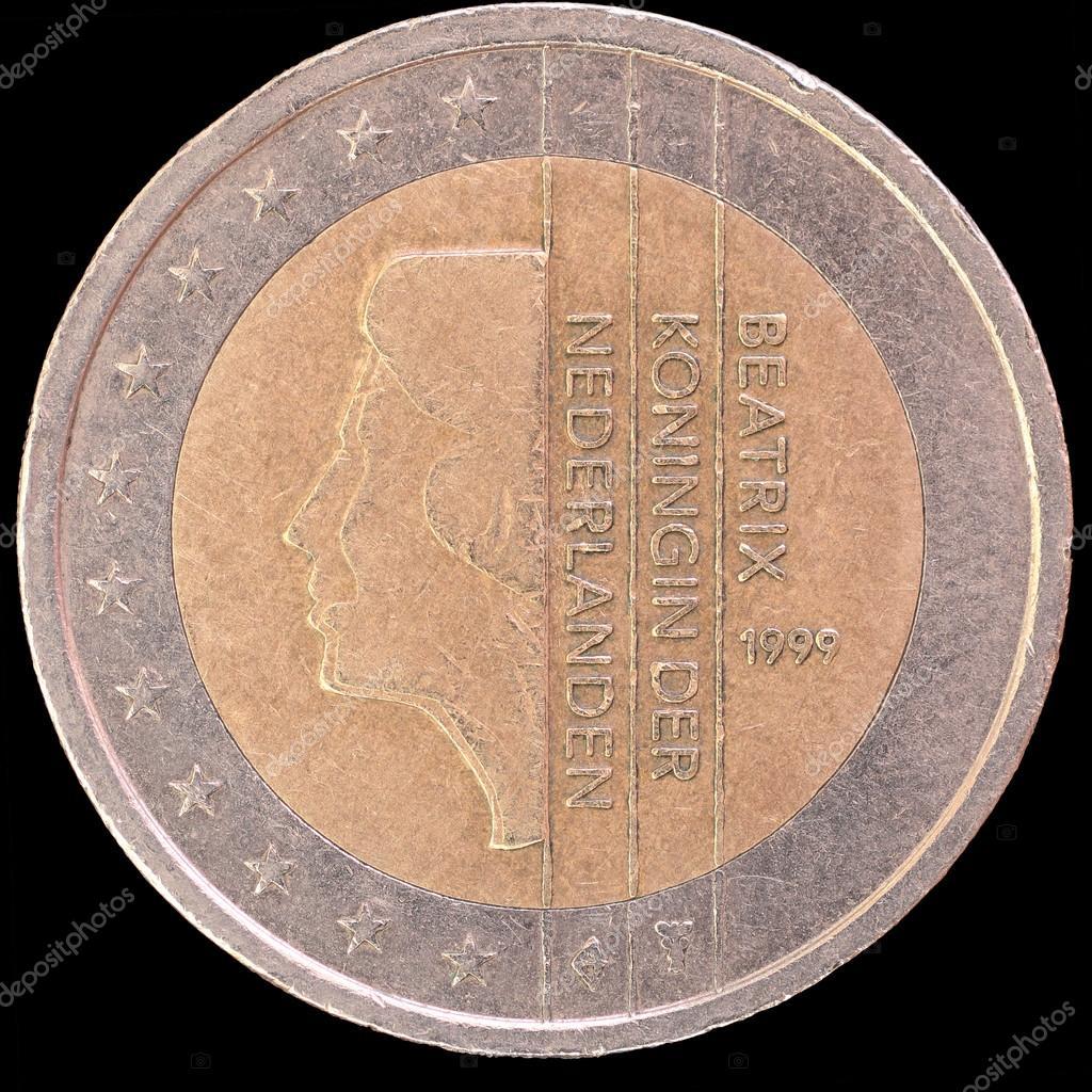 Nationale Seite Der Niederlande 2 Münze Auf Schwarzem Hintergrund