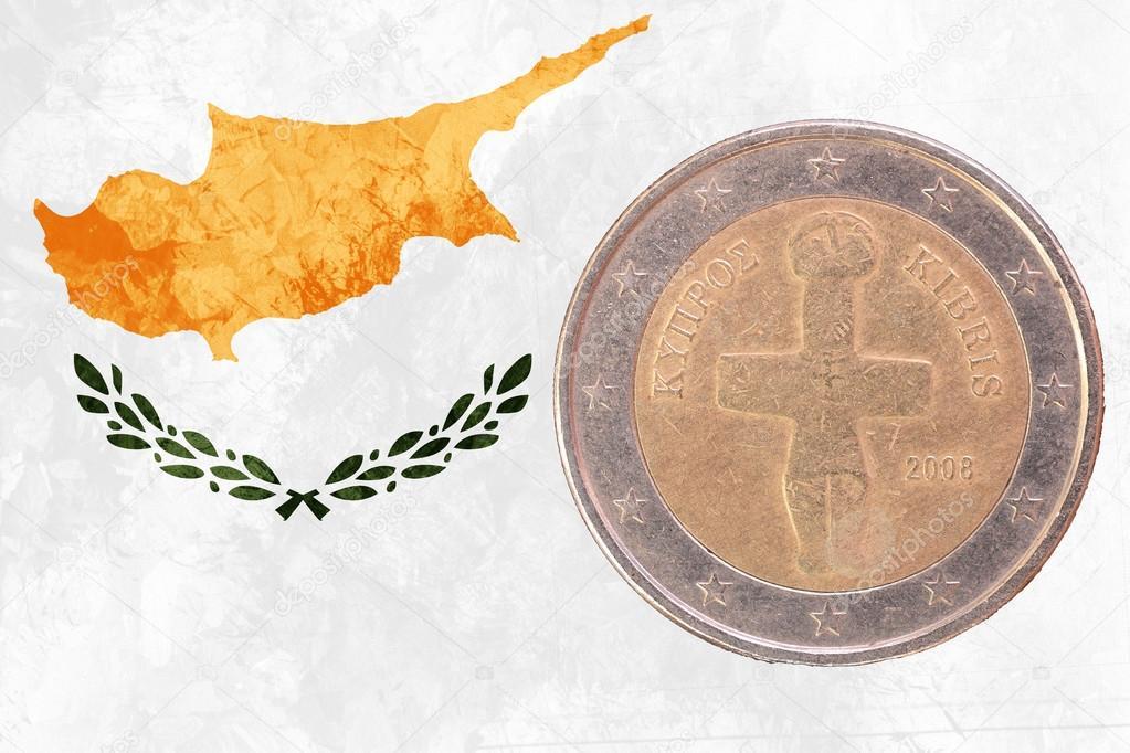 Zypriotische Zwei Euro Münze Mit Flagge Zypern Als Hintergrund