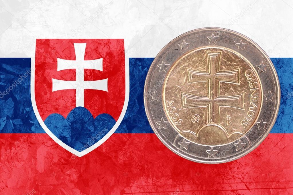 Slowakische Zwei Euro Münze Mit Flagge Der Slowakei Als Hintergrund