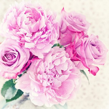 Peony and roses