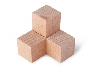 Children's toys - wooden cubes  on a white background