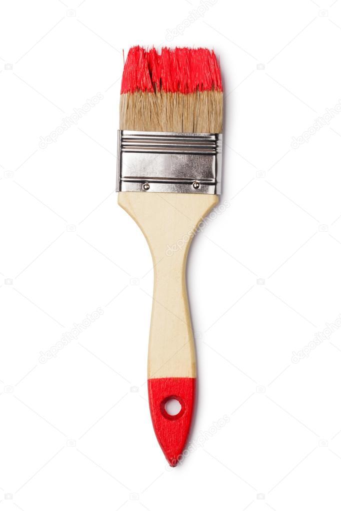 brocha con pintura roja — Fotos de Stock © gresey #61535447