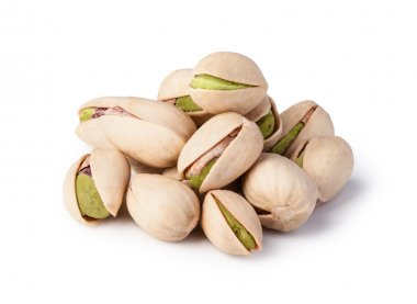 Pistachio nuts on a white background.