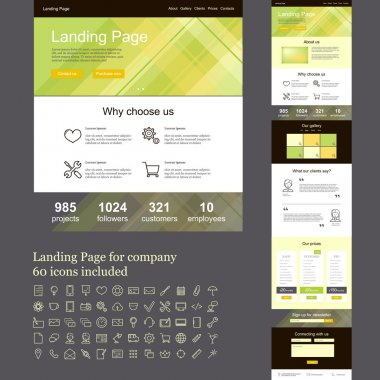 One page web site for company