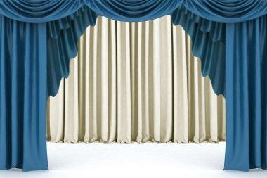 Open blue theater curtain