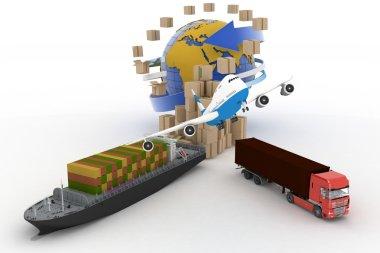 Cardboard boxes around globe, cargo ship, truck and plane stock vector