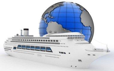 Luxury cruise ship on globe background