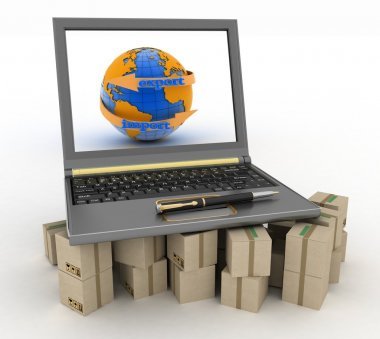 Laptop on cardboard boxes. Concept of online goods orders worldwide
