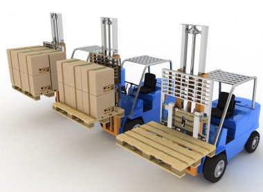 Three loaders with cargo and without cargo