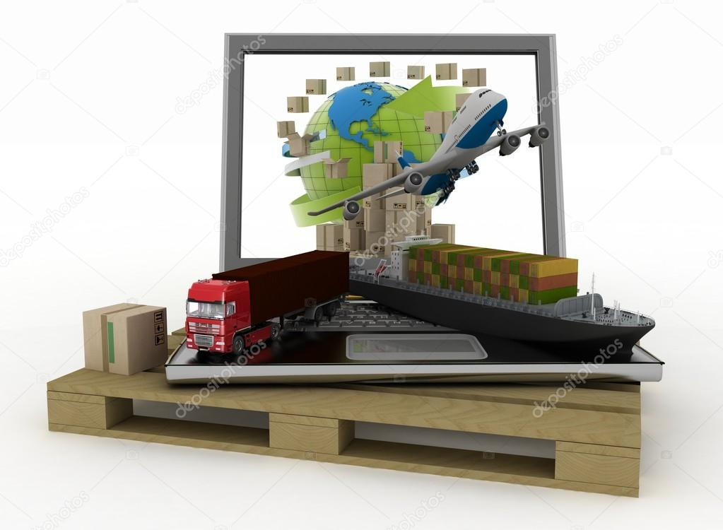 Laptop with cargo ship, truck, plane and boxes around globe on  wooden pallet. Concept of online goods orders worldwide