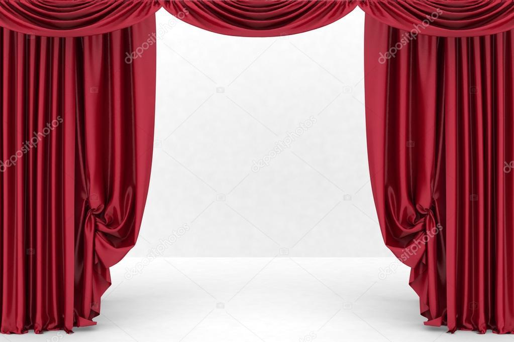 Open rode theater gordijn. 3D illustratie — Stockfoto © 3DDock #66932091