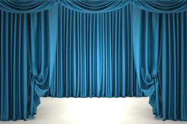 Open blue theater curtain. 3d illustration