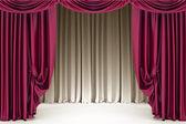 Fotografie Otevřené crimson divadelní opona se světlem a stíny na otevřené, pozadí