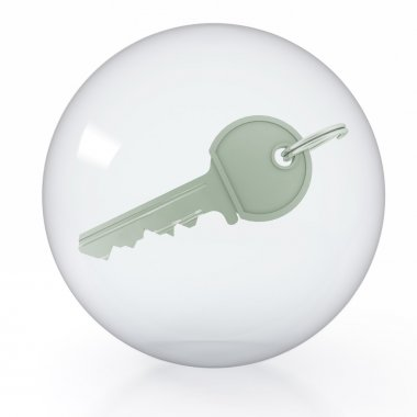 An icon of key is in a transparent ball on white background