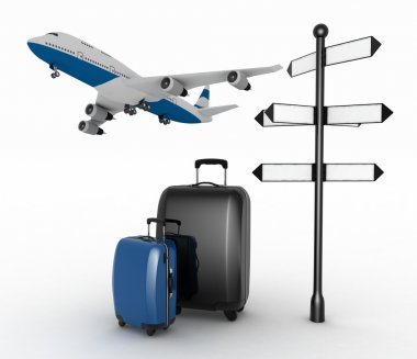 Signpost, suitcases and airplane. Travel concept