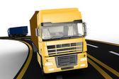 camion sulla superstrada. concetto di logistica, consegna e trasporto di autotrasporto merci.