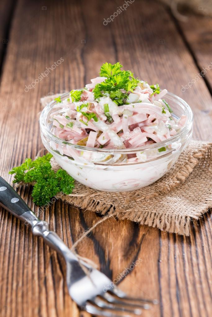 portion of meat salad with mayonnaise ストック写真