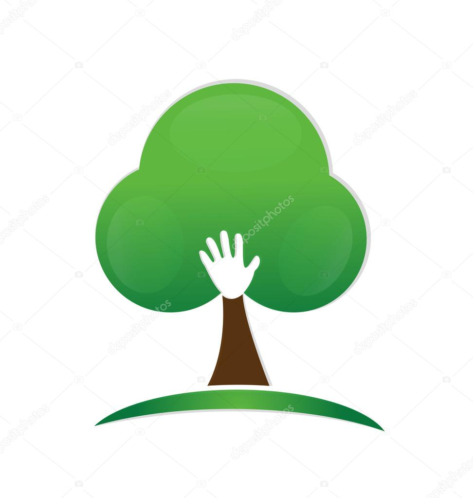 Tree hand logo design