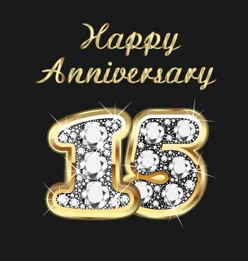 15 years anniversary birthday in gold and diamonds