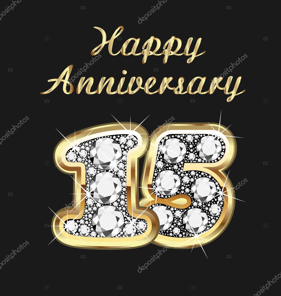 födelsedag 15 år 15 år årsdagen födelsedag i guld och diamanter — Stock Vektor  födelsedag 15 år