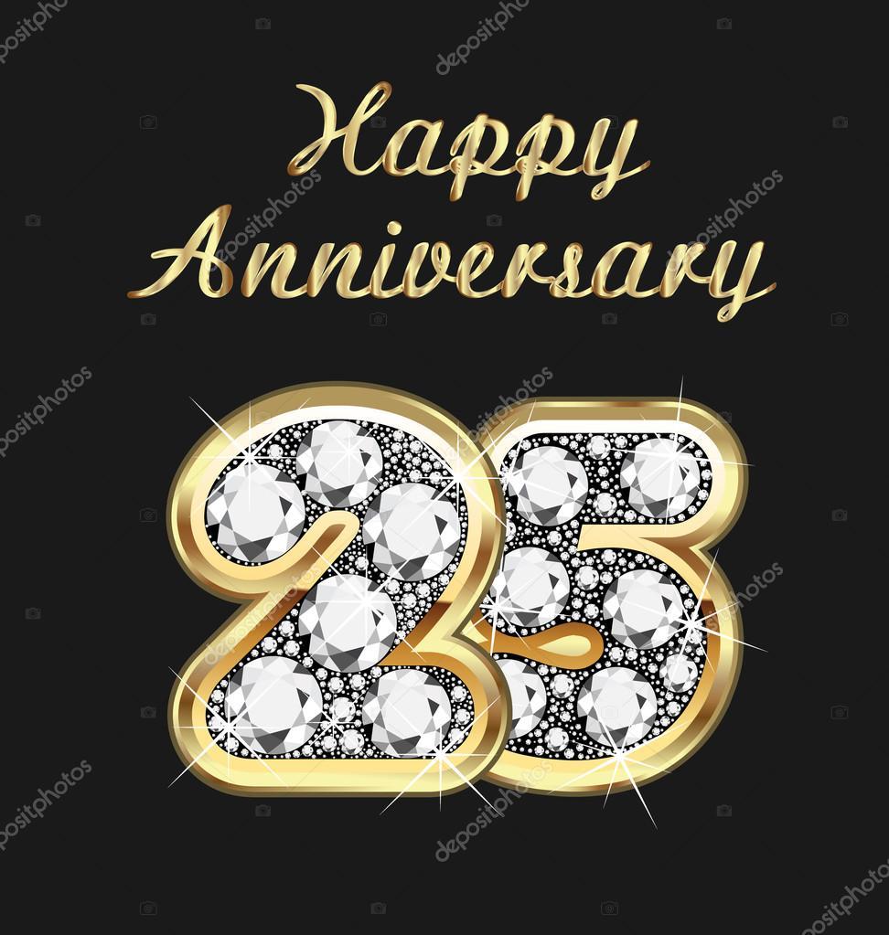 25 år bröllop 25 år årsdagen födelsedag i guld och diamanter — Stock Vektor  25 år bröllop