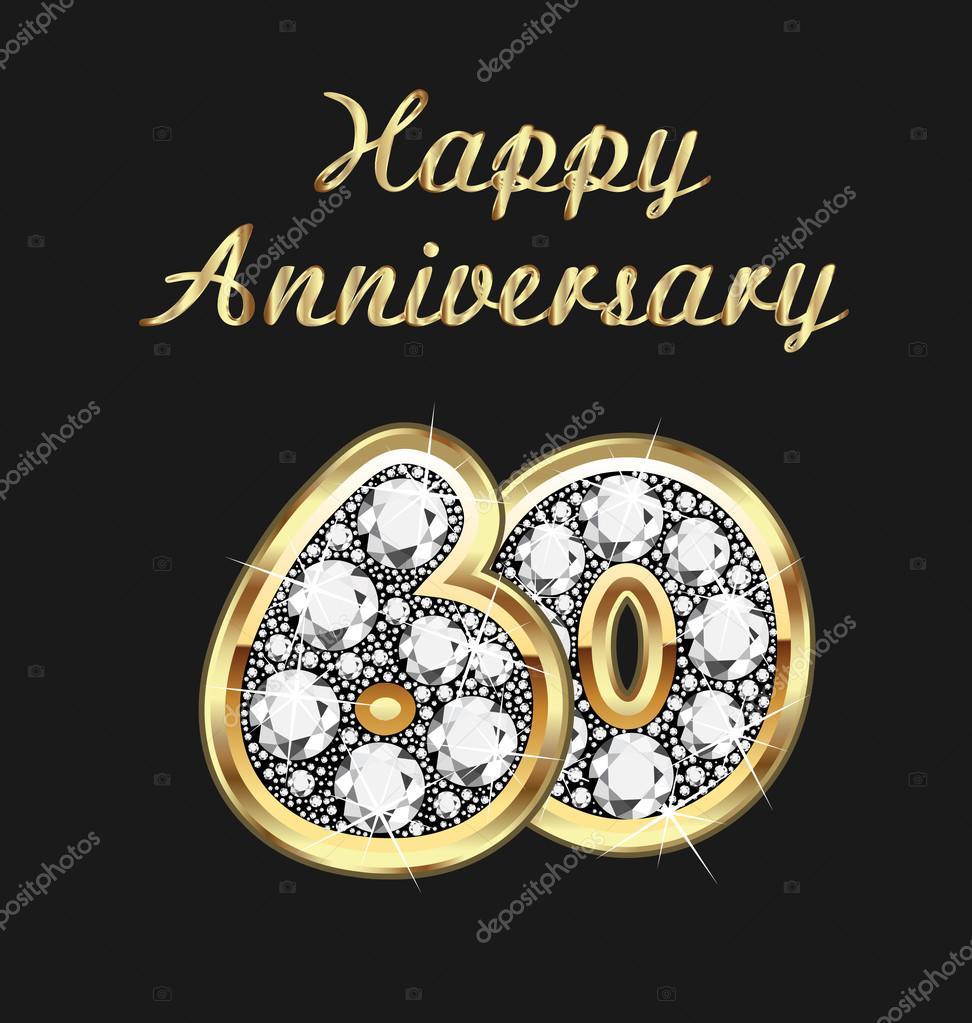 60 jaar verjaardag verjaardag in goud en diamanten stockvector glopphy 117238832 - Carte 40 ans a imprimer ...