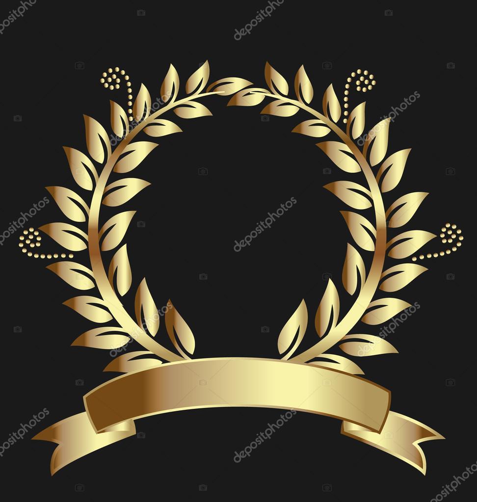 Zlatý vavřínový věnec medaile logo šablona — Stock Vektor © Glopphy ... e121257e0e