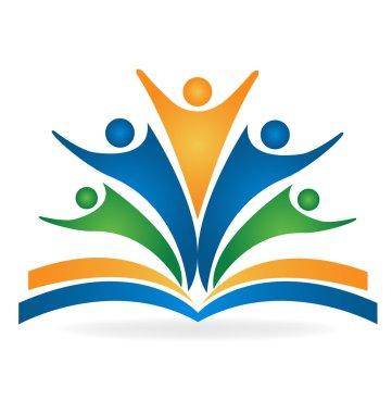 Book students teamwork education logo