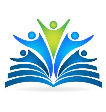 Book and graduates teamwork education logo