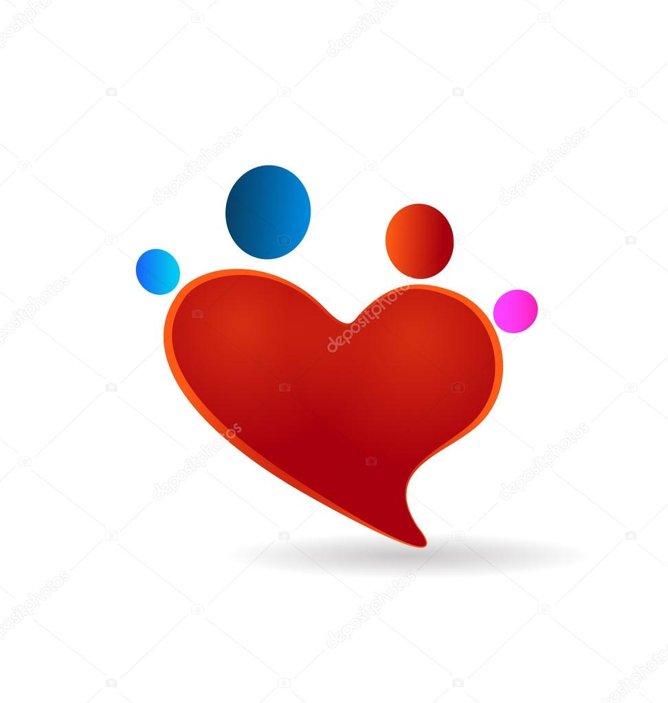 logotipo de figuras unión familiar corazón — Vector de stock ...