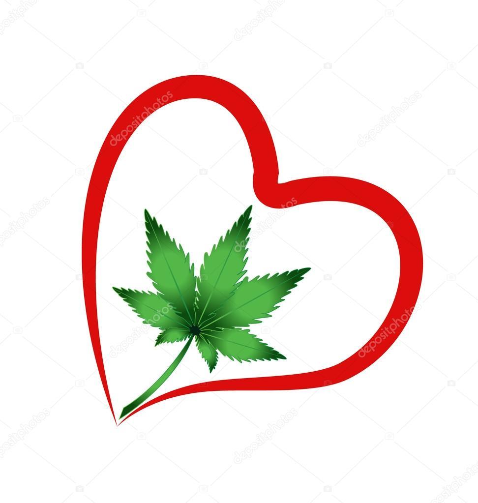 heart and leaf cannabis plant vector icon logo stock vector rh depositphotos com Yin Yang Symbol Designs Yin Yang Symbol Meaning