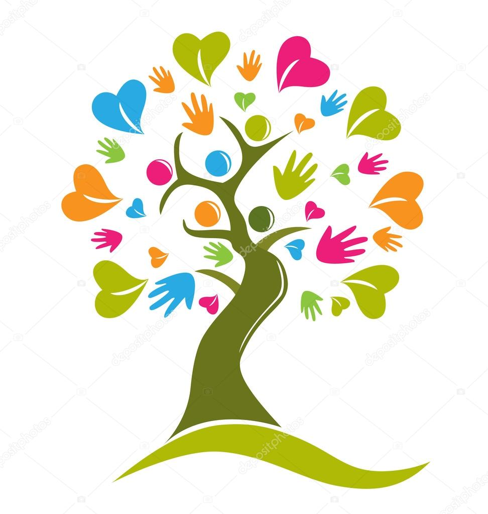 Vector tree hands hearts and people logo