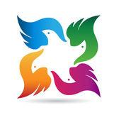 Fotografie Vögel-Team Logo Vektor