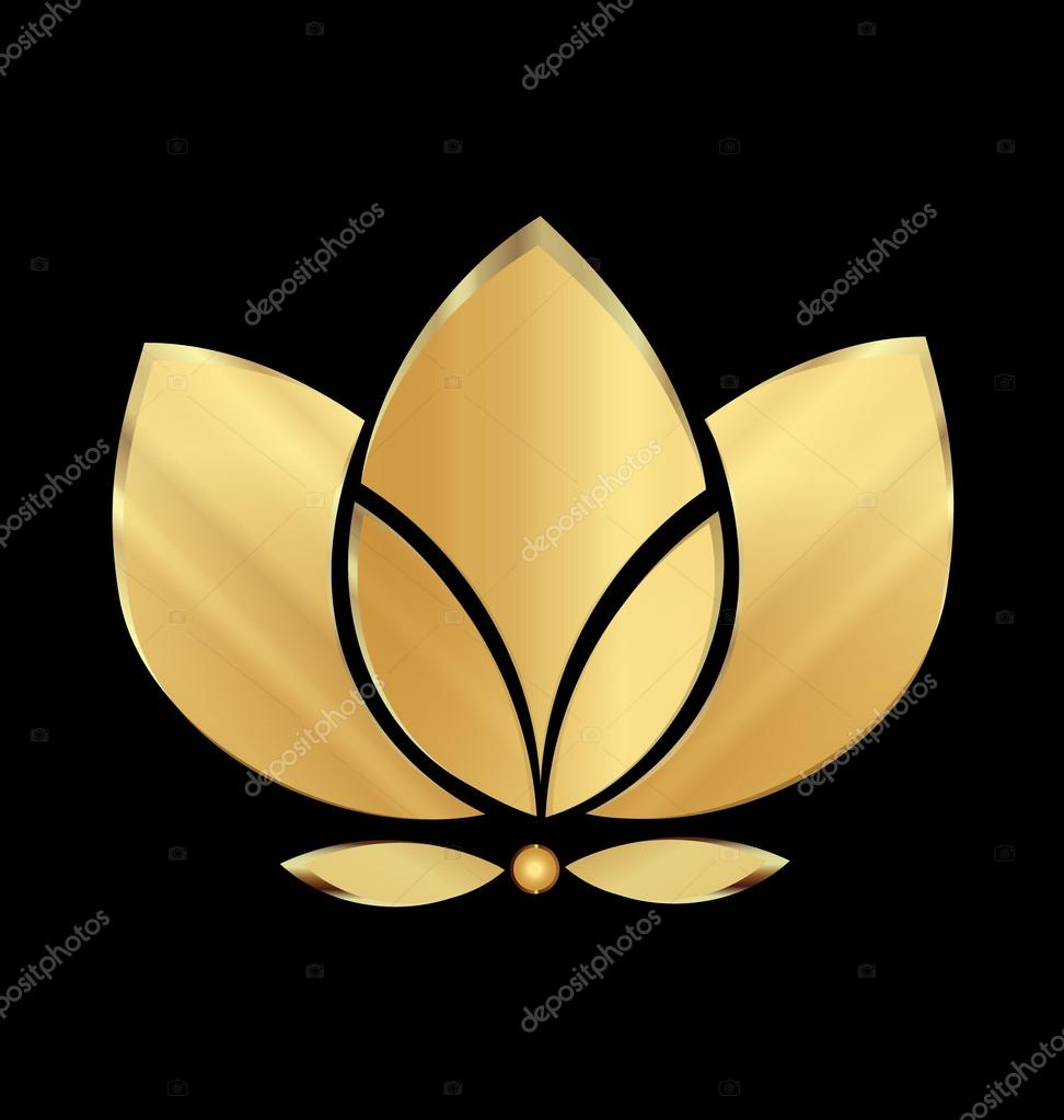 Lotus gold flower icon vector logo design