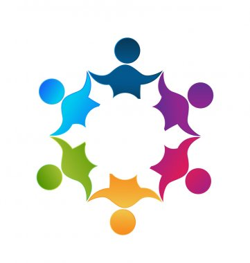 Teamwork unity workers people logo design