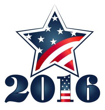 Election 2016 with USA Flag illustration. Vector icon symbol design