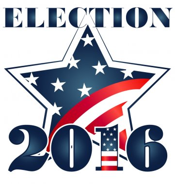 Election 2016 with USA Flag illustration. Vector icon symbol design