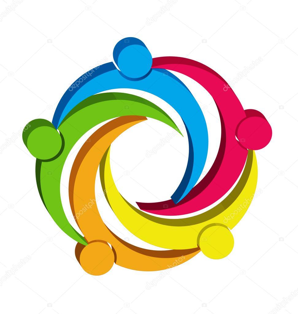 teamwork unity people 3d logo � stock vector 169 glopphy