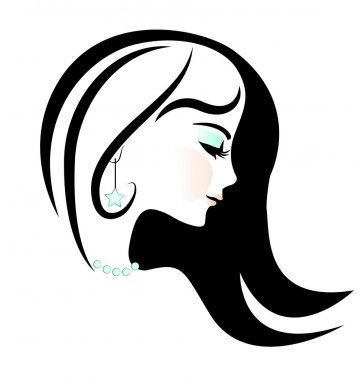 Beautiful face of pretty woman silhouette vector illustration